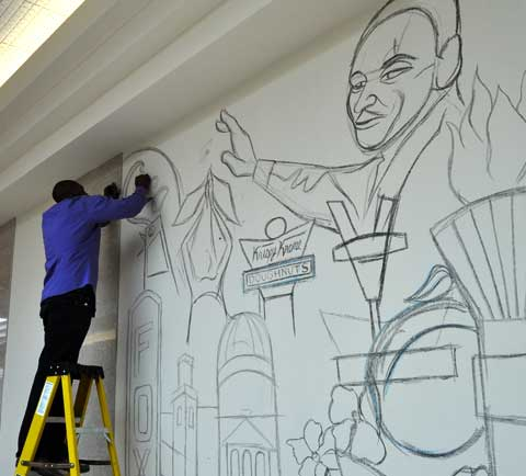 A large mural from Atlanta-based artist Corey Barksdale - Atlanta Mural Art
