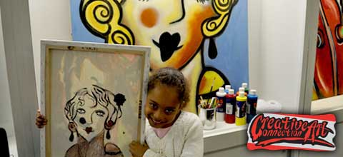 Atlanta Art Classes include a 16 x 20 canvas, acrylic paint, brushes, and 2 hours of a very social instructional painting class - Kids Art Classes